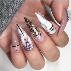 Stilettos, nails, marble, gold