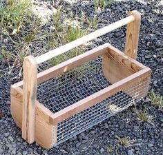 DIY veggie garden basket. Use it as you pick, then use the hose to wash your veggie harvest right in the basket.