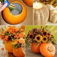 Image Sources: funholidaycrafts ,luvimages To make a pumpkin flower vase you have to make a hole in the upper part of the pumpkin with a can. After that re