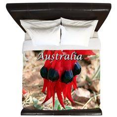 Sturts Desert Pea, Australia (caption) King Duvet on CafePress.com