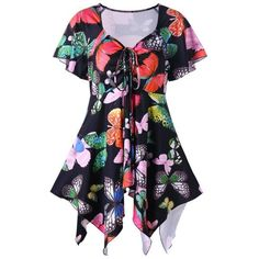 RoseWholesale - Rosewholesale Plus Size Butterfly Print Handky Top - AdoreWe.com