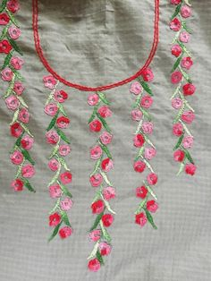 Hand embroidery designs for Neck design for dresses Embroidery On Kurtis, Kurti Embroidery Design, Embroidery Neck Designs, Floral Embroidery Patterns, Hand Embroidery Videos, Hand Embroidery Flowers, Hand Work Embroidery, Embroidery On Clothes, Shirt Embroidery
