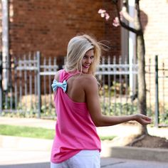 @torunnlee styling our Southern Girl Prep hot pink seersucker bow racerback.  Shop Southern Girl Prep then check out her post on Instagram and some good GIVEAWAYS going on at #giveawaysgp