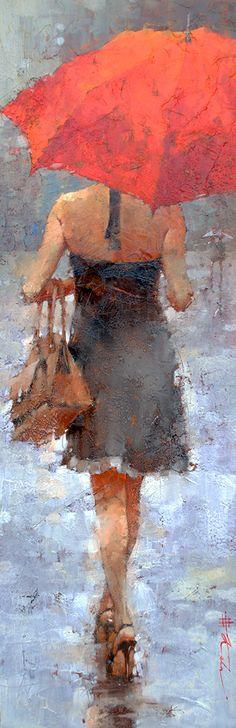 """Sprinkles in July"", Oil, 36"" x 12"" by Andre Kohn  www.andrekohnfineart.com"