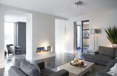 Wohnzimmer canapés gris contemporains