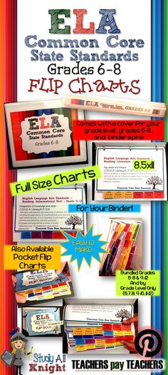 "ELA Common Core State Standards Grades 6-8 Full Size Binder Flip Charts 3 PDF files. Comes with  directions, standards, binder cover and spine label-Grade 6 -Grade 7-Grade 8 An additional PDF contains a binder cover and spine label for ""Grades 6-8"" -8.5x11-place in a binder-bring with you to PLCs-gift for a student teacher or new teacher-supplement to help along a veteran who is implementing the CCSS. ALL STANDARDS have:-their own page -their own tab-a color for that standard."