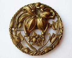 Vintage 20s Art Nouveau Tiger Lily Brass Repousse by SoCalJewelBox, $64.00