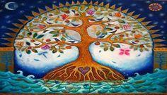 Super tattoo tree of life mandala pictures Ideas Tree Of Life Artwork, Tree Of Life Painting, Tree Art, Tree Of Life Images, Moon Painting, Oeuvre D'art, Pagan, Illustration, Folk Art