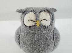 Upcycled Felted Wool Grey Sleepy Owl