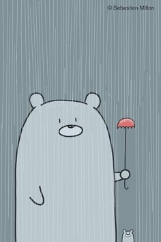 Father Bear holds a little umbrella to keep his son dry ( sebastien millon )