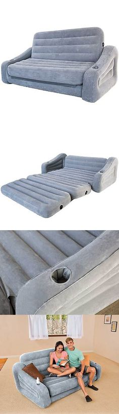 Sectional Sofas Inflatable Mattresses Airbeds Intex Inflatable Queen Size Pull Out Sofa Couch Bed Dark Gray Ep ue BUY IT NOW ONLY on eBay