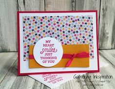 handmade card, thinking of you card, greeting card, handmade thinking of you card, hand stamped, fun, bright colors, DIY, demonstrator, paper crafting, hobby, easy, quick, rubber, stamps, stamping, craft, paper, *Stampin' Up, by Amy Frillici, Gathering Inkspiration, order products online at amysuzanne.stampinup.net