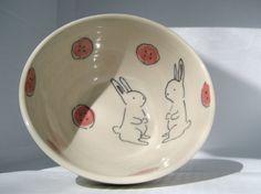Handmade Ceramic Bowl Bunny Rabbits Cereal Bowl by abbyberkson, $32.00