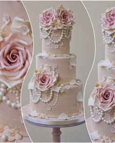 Lace Wedding Cakes #vintagewedding #lacewedding