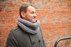 Gray scarf gray-blue scarf circle scarf gray cowl от heyhobohey