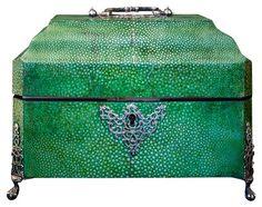 18th c. shagreen & sterling silver box