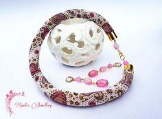 Perline necklace•Crochet corda Choker• perline jewelry•Beaded gioielli set•Long jewelry•Crochet di earrings•One di tipo corda necklace•Gift idea