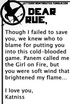Letter Katniss to Rue
