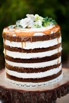 Naked wedding cake no fondant wedding cakes are the trend this year but you could use this cake for any occasion. It is apple spice cake layers with Cinnamon cream filling, topped with a caramel drizzle. You could use any cake flavors for this. Beautiful. Naked Wedding cake ..................        I'm all about no fondant!!! Gotta check this out