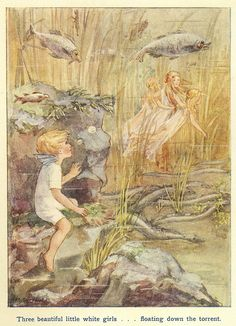 Floating Down The Torrent    By Margaret Tarrant .    From the book , The Water Babies by Charles Kingsley