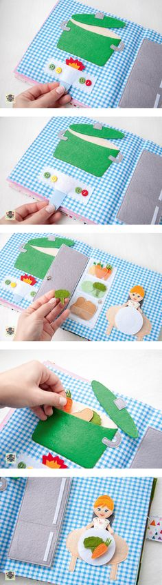 quite book pages kitchen felt pan felt vegetables felt fridge refrigerator Diy Quiet Books, Baby Quiet Book, Felt Quiet Books, Quiet Book Patterns, Diy Bebe, Toddler Books, Book Quilt, Busy Book, Felt Crafts