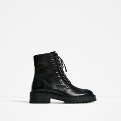 ZARA - WOMAN - CHAIN DETAIL LEATHER ANKLE BOOTS