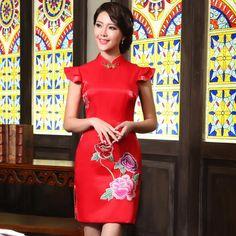 Wonderful Traditional Embroidery Red Cheongsam - Qipao - Cheongsam - Women