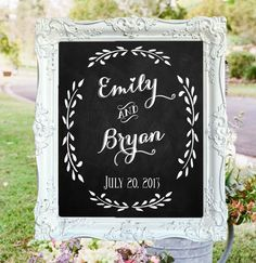 Wedding Chalkboard featuring Couples Names and Wedding Date. Sweet for the wedding & darling decoration in the home afterwards.