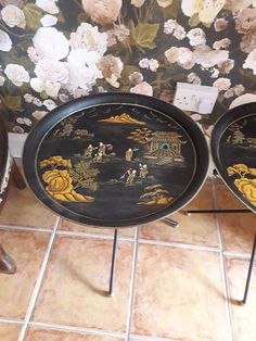 Pair of Oriental Occasional tables Chinese Table, Circular Table, Painted Metal, Hand Painted, Time Shop, Garden Table, Metallic Paint, Tripod, Oriental
