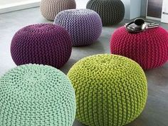 Super soft poufs made of knitted ribbon yarn. Cozy poufs for Pouf En Crochet, Knitted Pouf, Crochet Carpet, Knitted Cushions, Crochet Amigurumi, Crochet Pillow, Crochet Pouf Pattern, Knitted Blankets, Chair Cushions