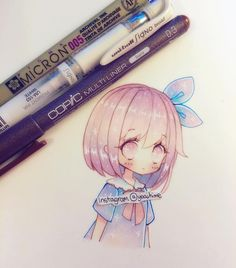 """Trying copics on Canson Bristol paper- ( ̄▽ ̄) it's very similar to Canson Mixmedia paper but the fineliners go on more smoothly but also """"sits on"""" the paper slightly. I still prefer Bienfang mix media paper but it doesn't blend as well, however the colours are much more solid on the paper. #chibi #copicart #kawaii #cute #moe #oc ---MATERIALS: #copic #multiliner #micron #copicmarkers #uniball #gelpen #cansonpaper ----------- •Artwork (c) yoaihime •All Rights Reserved• Commercial use…"""