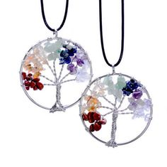 Trendy Chakra Color Life Tree Leather Cord Pendant Necklace
