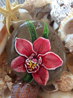 Orchid Handpainted on Stone