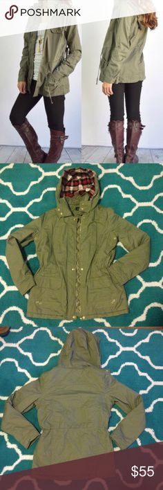 Olive Green Utility Jacket Brand new. SIZE medium. 2nd-4th photos show the actual Jacket. Quilted inside, gold detailing. Jackets & Coats Utility Jackets