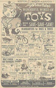 Boston TOY Store Newspaper AD 1963 Bikes Train Doll Pedal Car Fire Truck Advert