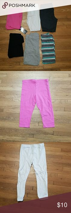 Size 6 Bundle of Girls Pants/leggings Lot #6P002 Bundle of Girls Pants all size 6. There are 6 pairs of leggings/soft pants in this bundle. Some of the pants are ankle length and some are capri. Bottoms Leggings