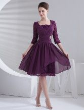 Grape A-line Knee-Length Rhinestone Chiffon Cocktail Dress with Square Neck -No.1