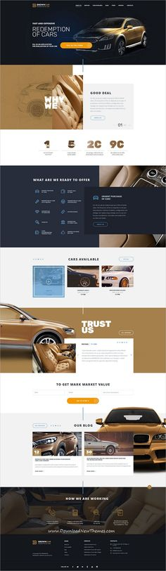 BrownCar is clean and modern design PSD template for #car repair and redemption #dealer centers #website with 3 different homepage layouts and 40 layered PSD pages to live preview & download click on Visit  #psdmockups