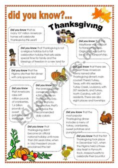 thanksgiving facts - ESL worksheet by intothefire