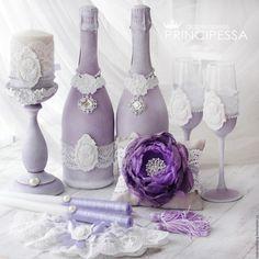 """Купить """"Сладкая лаванда"""" свадебный набор - сиреневый, аксессуары, Аксессуары handmade, аксессуары для фотосессий"""