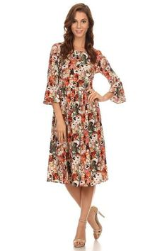 Therese Fall Florals Dress in Cream