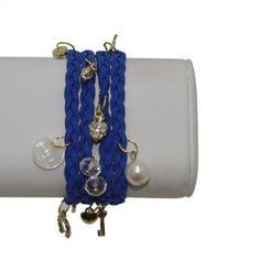 Leather Wrap Bracelet with Charms – Royal Blue #bracelets #fashion #jewelry  9thelm.com