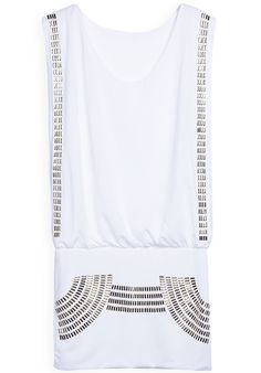 White Round Neck Sleeveless Metal Embellished Dress