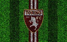 Download wallpapers Torino FC, 4k, logo, football lawn, Italian football club, cinnamon white lines, emblem, grass texture, Serie A, Turin, Italy, football
