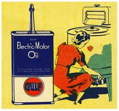 my dad always had a can of this in his work room.... i think he also used to oil our bike chains with it?  Gulf Electric Motor Oil (by paul.malon),1930s