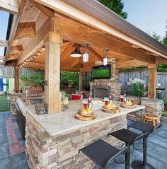 Luxury Outdoor Kitchen Design Ideas That Brings A Cleaner Looks Backyard Pavilion, Backyard Gazebo, Backyard Patio Designs, Patio Ideas, Gazebo Ideas, Backyard Ideas, Backyard Cabana, Modern Backyard Design, Gazebo Decorations