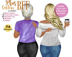 Best friends clipart custom portrait creator COMMERCIAL   Etsy Watercolor Images, Watercolor Portraits, Friends Clipart, White Tee Shirts, Soul Sisters, Different Hairstyles, Brown Skin, Bff, The Creator