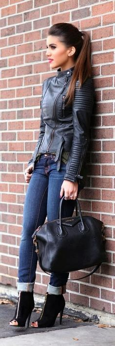 Street style | Black leather jacket, jeans, heels, handbag