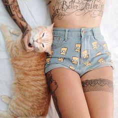Imagem de cat and tattoo