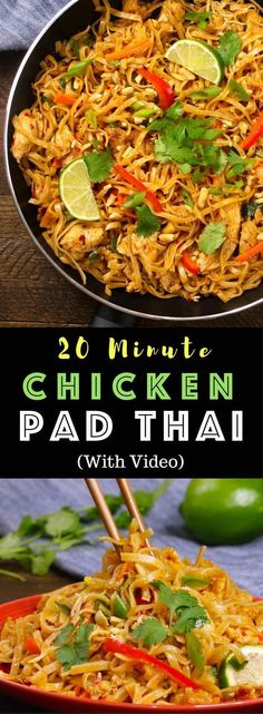 The easiest, most unbelievably delicious Chicken Pad Thai is full of authentic favors and so much better than take outs. And it'll be on your dinner table in just 20 minutes. One of the best Asian dinner ideas! A perfect easy weeknight meal. Quick and easy dinner recipe. Video recipe. | Tipbuzz.com